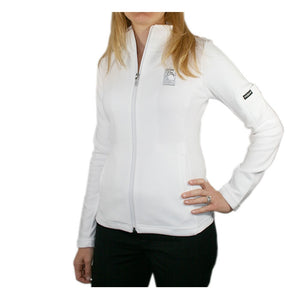 Women's Swing Full Zip Jacket in white with The Lodge at Torrey Pines logo