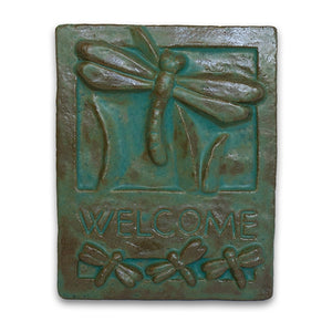 Green Welcome Tile Dragonfly by Janet Ontko