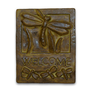 Brown Welcome Tile Dragonfly by Janet Ontko