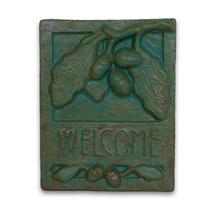 Green Welcome Tile Oak by Janet Ontko