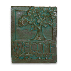 Green Welcome Tile Tree of Life by Janet Ontko