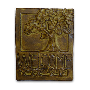 Brown Welcome Tile Tree of Life by Janet Ontko