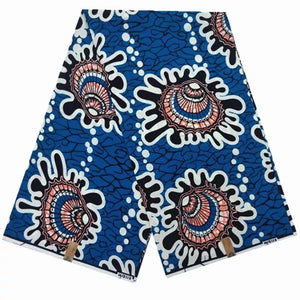 African Wax Print Blue, White-Maroon