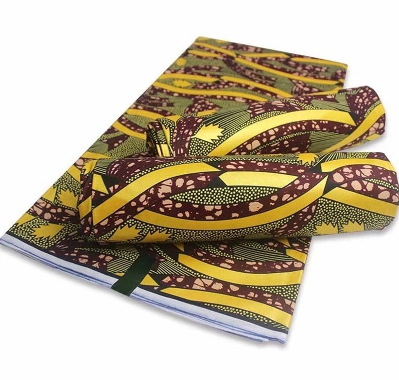 Gold Print African Wax Fabric Cotton