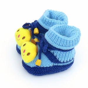 Knitted Wool Animal Baby Shoes Blue Panda - littletingles