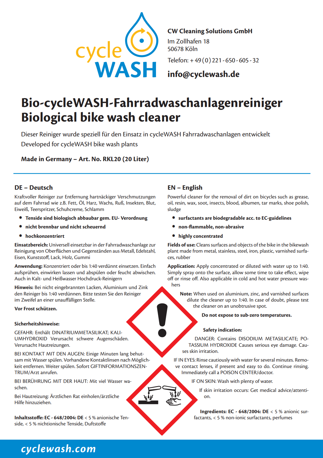 cycleWASH® Biological Cleaning Agent 20 L