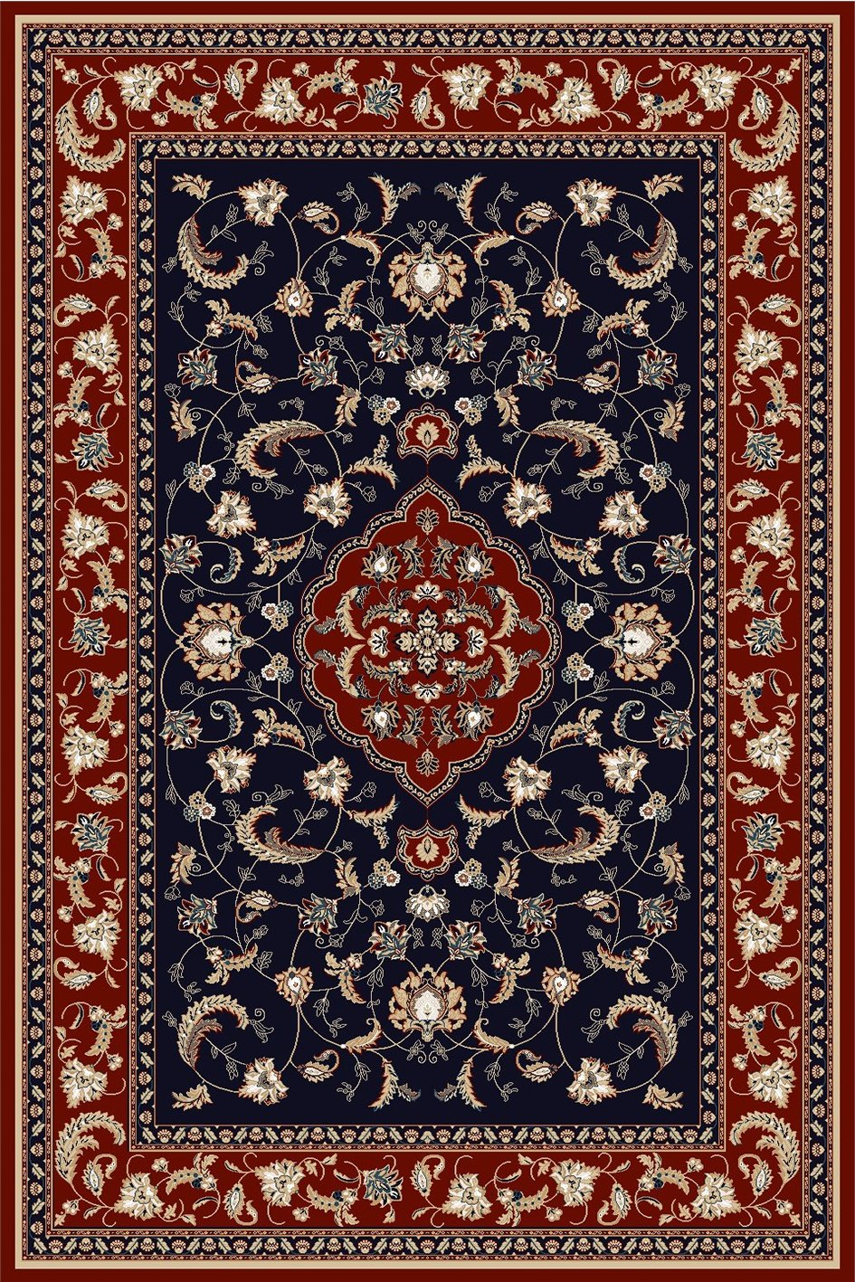 Maxmar Carpet Gulendam Series Navy Blue Red Decorative Area Rug 3022