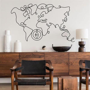 "Antdecor Metal Wall Art, World Map and Compass Themed Wall Decor 100x70cm 38"" X 27"""