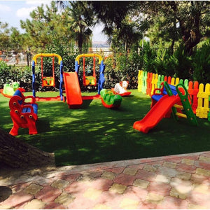 Round Playground Outdoor for Kids with Balls Swing Set