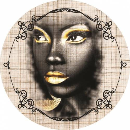 Etgbuy Black Woman Portrait Golden Lipstick  Round Area Rug
