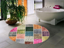 Load image into Gallery viewer, Etgbuy Patch Design Multicolor Decorative Round Area Rug