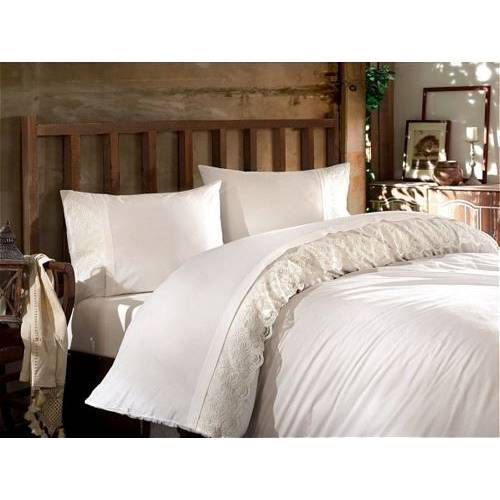 Gaia White Guipure Bedding Linens Set Queen 4 Pcs Ranforce Cotton Duvet Set