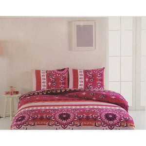Gaia Bordeaux Bedding Linens Set Queen 4 Pcs Ranforce Cotton Duvet Set