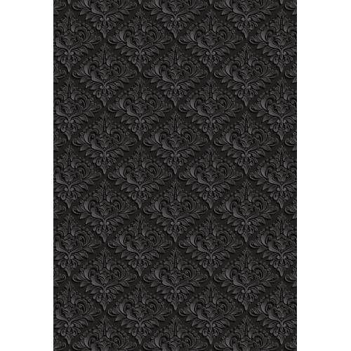 Etgbuy Beauty of Darkness Black Floral Figures  Area Rug