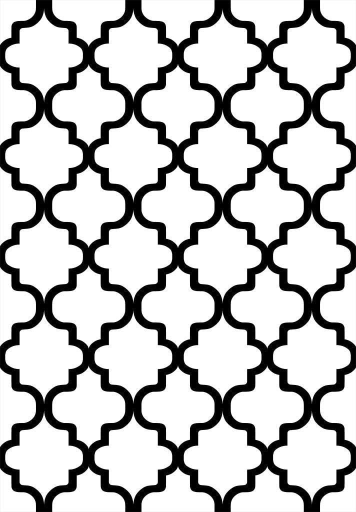 Etgbuy Black and White Geometric Figures Area Rug