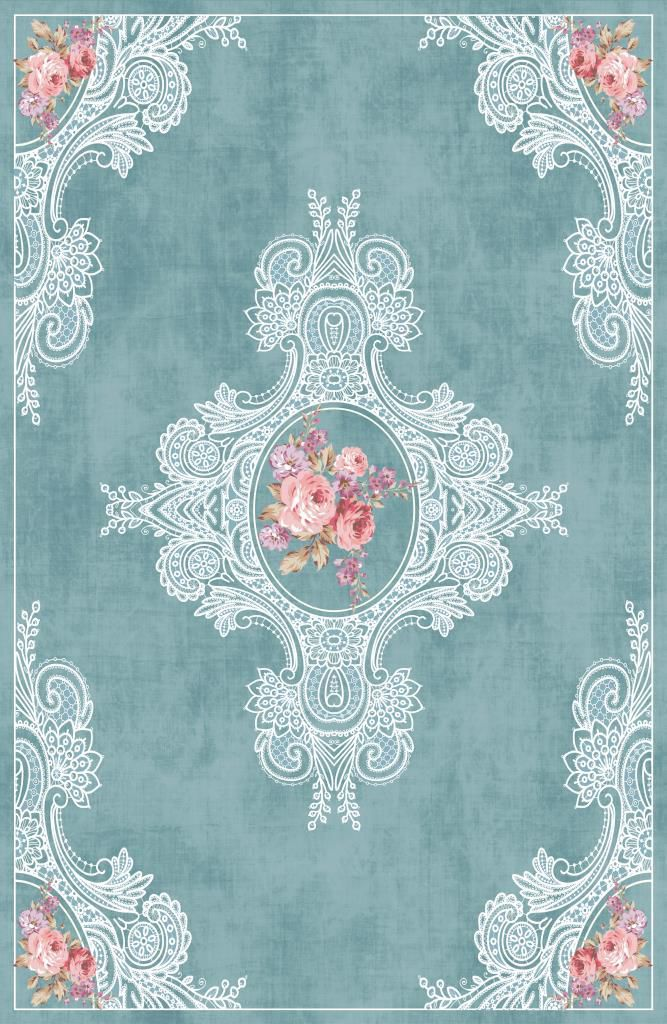 Etgbuy Oriental Design Blue and Pink Area Rug