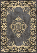 Load image into Gallery viewer, Etgbuy Oriental Design Black and Gold Area Rug