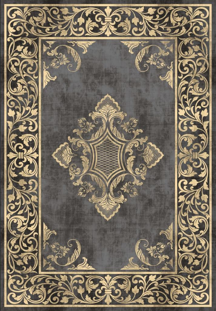 Etgbuy Oriental Design Black and Gold Area Rug