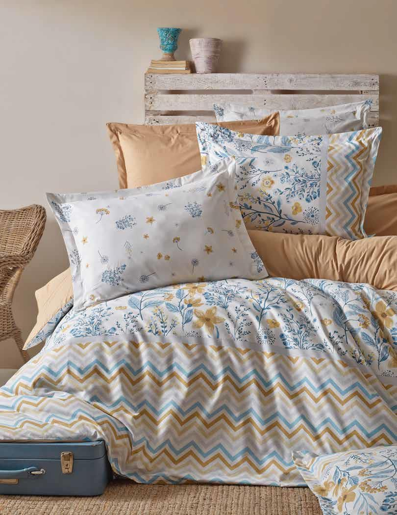 Gaia Zigzag Bedding Linens Set Queen 4 Pcs Ranforce Cotton Duvet Set