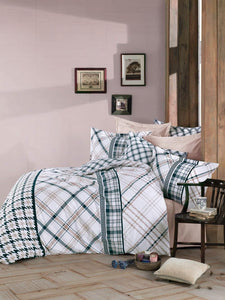 Gaia Checker Beige Bedding Linens Set Queen 4 Pcs Ranforce Cotton Duvet Set