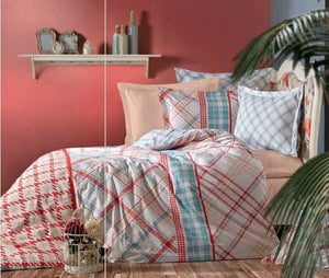 Gaia Coral Linens Set Twin 3 Pcs Ranforce Cotton Duvet Set