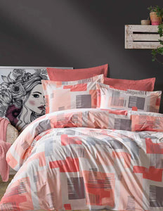 Gaia Orange Linens Set Twin 3 Pcs Ranforce Cotton Duvet Set