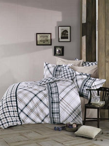 Gaia Hairline Linens Set Twin 3 Pcs Ranforce Cotton Duvet Set