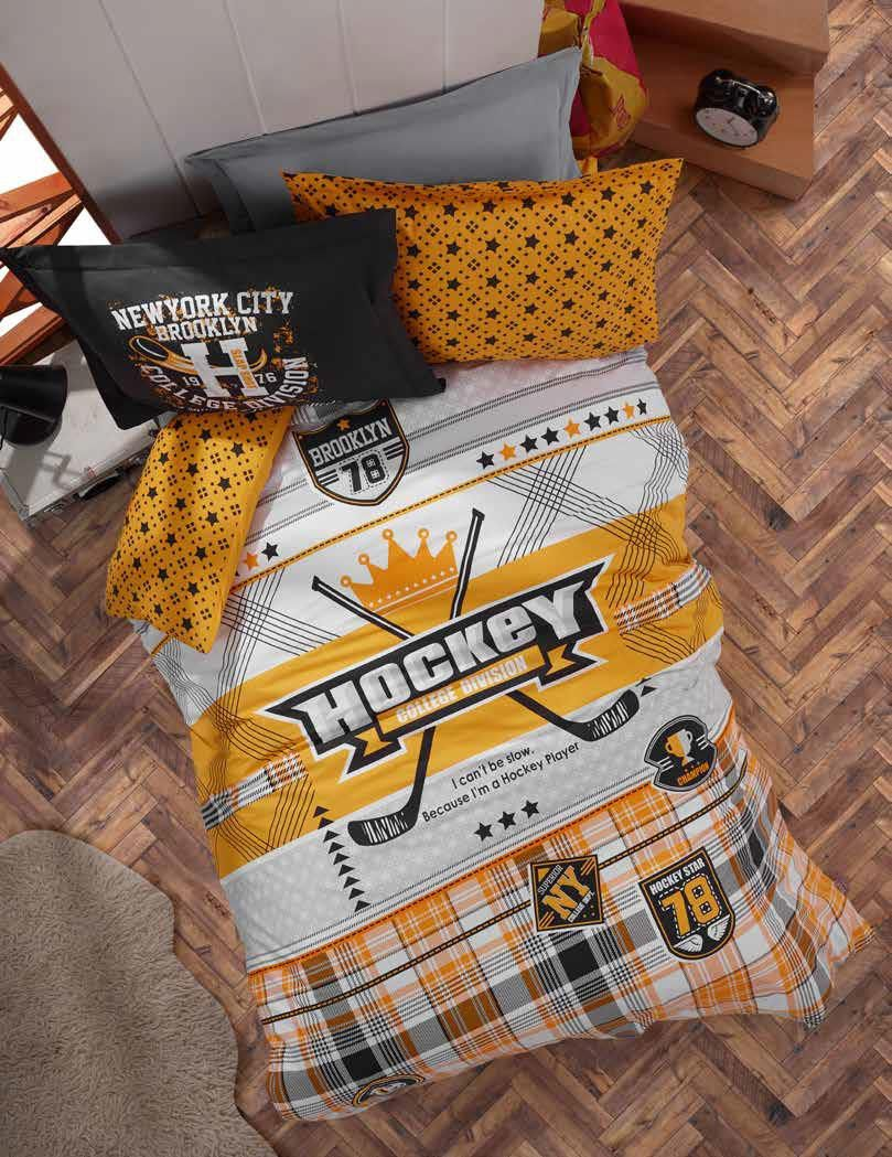Gaia Hockey Teenage Bedding Linens Set Twin 3 Pcs Ranforce Cotton Duvet Set