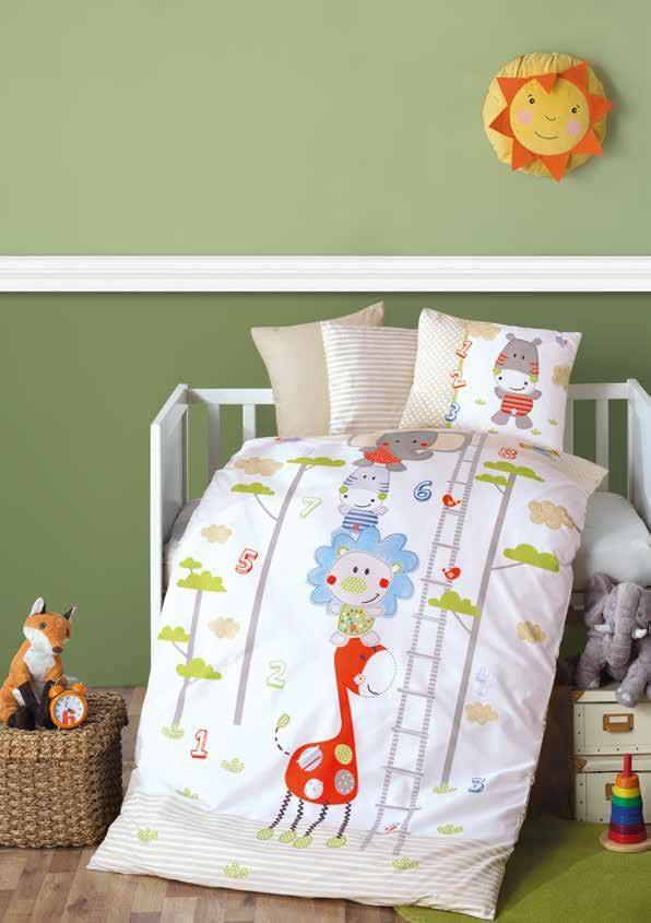 Gaia Animals Baby Room Bedding Linens Set Twin 3 Pcs Ranforce Cotton Duvet Set