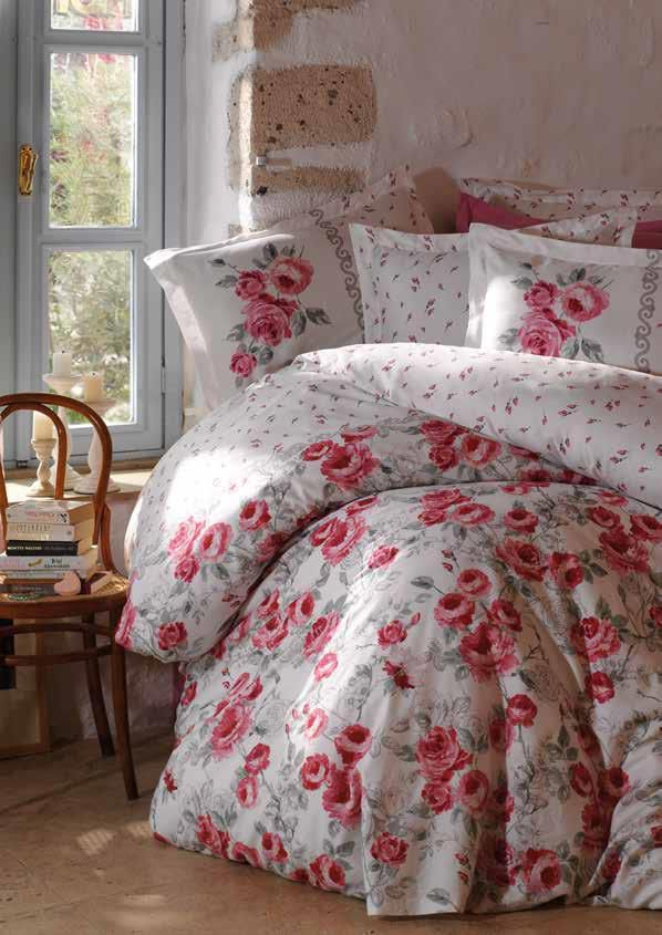 Gaia Sateen Flowers Bedding Linens Set Queen 4 Pcs Ranforce Cotton Duvet Set