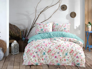 Gaia Blue Floral Bedding Linens Set Queen 4 Pcs Ranforce Cotton Duvet Set