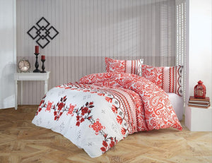 Gaia Red Oriental Bedding Linens Set Queen 4 Pcs Ranforce Cotton Duvet Set