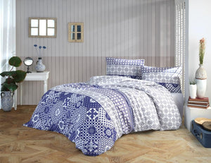Gaia Blue Bohem Bedding Linens Set Queen 4 Pcs Ranforce Cotton Duvet Set