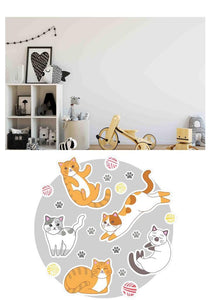 Etgbuy Cats and Kidsroom Decorative Round Area Rug