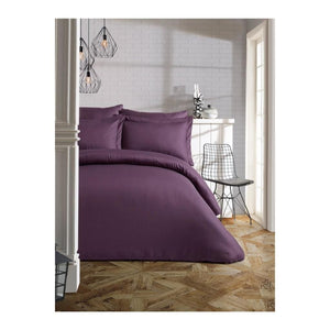 Gaia Damson Plum Sateen Bedding Linens Set Queen 4 Pcs Ranforce Cotton Duvet Set
