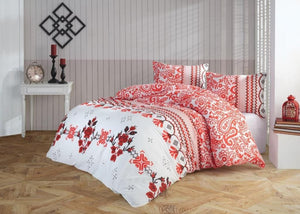 Gaia Red Bomb Bedding Linens Set Queen 4 Pcs Ranforce Cotton Duvet Set