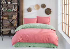 Gaia Coral Mint Bedding Linens Set Queen 4 Pcs Ranforce Cotton Duvet Set