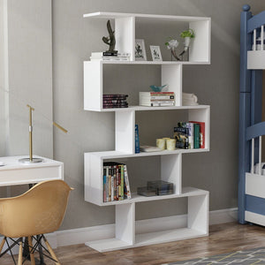 Homelante Volans Bookcase - Decorative Bookcase with 5 Shelves - White