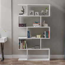 Load image into Gallery viewer, Homelante Volans Bookcase - Decorative Bookcase with 5 Shelves - White