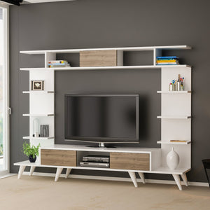 Homelante Pan Tv Unit Retro Pedestal - White / Istanbul