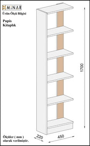 Homelante Pupis Bookcase - Bookcase with 5 Shelves Beyaz / Istanbul