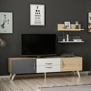 Homelante Only Tv Unit - Tv Table - White / Sapphire / Anthracite