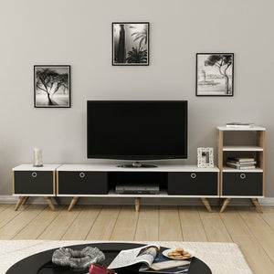 Homelante Zeyn Bookcase - Tv Unit with Stand - Tv Table - White / Ciragan / Black