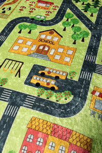 "RugstoreX Small Town Green Rugs for kids Highway  3'x 5' 39""x 62"" 100x160 cm - Cross Border Exporter"