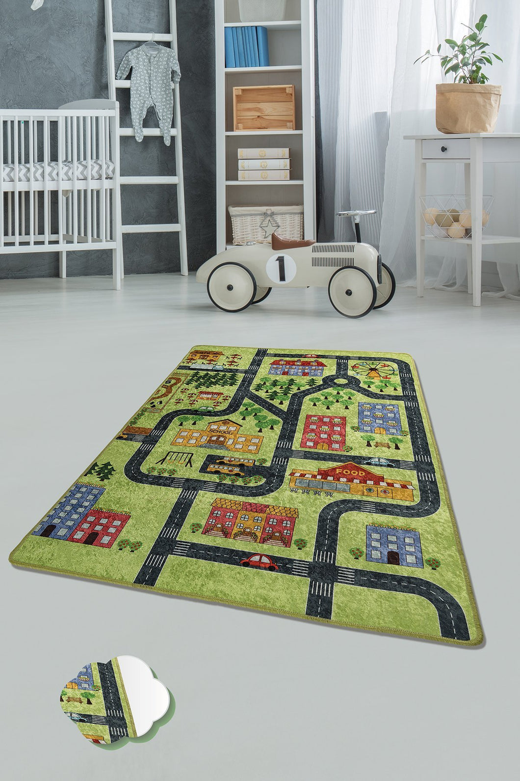 RugstoreX Small Town Green Rugs for kids Highway  3'x 5' 39