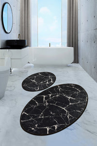 Antdecor Djt 2'li Marble Premier Carpet poster, Bathroom Carpet Set Anthracite - Cross Border Exporter