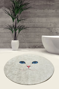 Pelin Collection Rugs 40x60 Round Rug White Cat