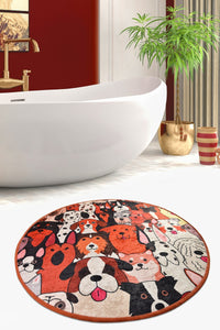 "Antdecor Dogs Round Bath Rug Area Rug Round Rug 40"" 100 cm - 55"" 140 cm - Cross Border Exporter"