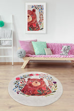 Load image into Gallery viewer, Antdecor Happy Bear Design Decorative Round Area Rug 55'' 140cm