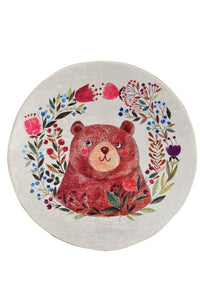 Antdecor Happy Bear Design Decorative Round Area Rug 55'' 140cm